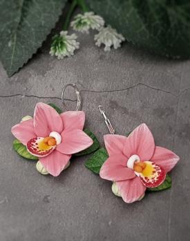 "Auskari ""Orhidejas"" rozā"